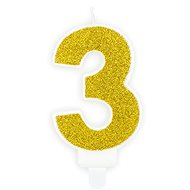 "Birthday Candle, 7cm, Number ""3"", Gold - Candle"