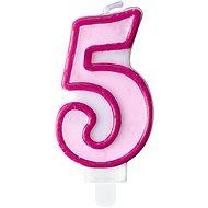 """Svíčka narozeninová, 7cm, číslice """"5"""", růžová - Svíčka"""