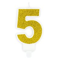 "Birthday Candle, 7cm, Number ""5"", Gold - Candle"