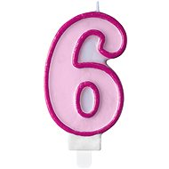 "Birthday Candle, 7cm, Number ""6"", Pink - Candle"