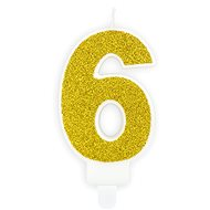 """Svíčka narozeninová, 7cm, číslice """"6"""", zlatá - Svíčka"""