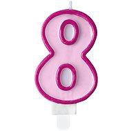 """Svíčka narozeninová, 7cm, číslice """"8"""", růžová - Svíčka"""
