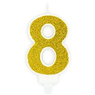 "Birthday Candle, 7cm, Number ""8"", Gold - Candle"