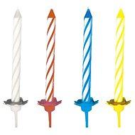 Cake candles, 6cm, with stand, stripes, mix of colours, 24 pcs - Candle