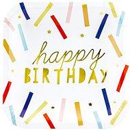 Talíře papírové, 20x20cm, Happy Birthday, zlatý nápis, barevné proužky, 6ks - Jednorázové nádobí