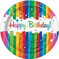 Talíře papírové, O 23cm, Happy Birthday, barevné pruhy, 8ks