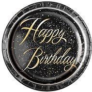 Talíře papírové, O 23cm, Happy Birthday, zlatý nápis, 8ks - Jednorázové nádobí