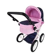 Rappa pram for dolls with pointing handle, blue with polka dots - Doll Stroller