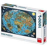 Kreslená Mapa Světa 1000 Puzzle Nové - Puzzle