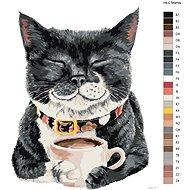 Malování podle čísel - Kočka s kávou by holly modrá 80x100cm vypnuté na rám - Malování podle čísel