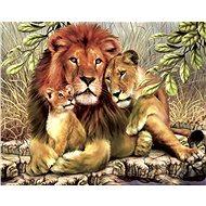Malování podle čísel - Lev s lvicí a lvíčetem - Malování podle čísel