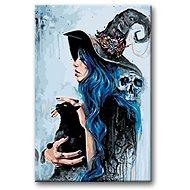 Malování podle čísel - Čarodějka s černou kočkou - Malování podle čísel