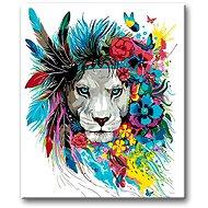 Malování podle čísel - Lev s čelenkou a květinami - Malování podle čísel