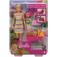 Barbie doll on a walk with her dog - Doll