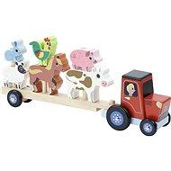 Vilac Dřevěný traktor se zvířátky na nasazování - Dřevěná hračka