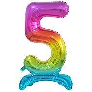 Balón foliový číslice duhová na podstavci , 74 cm - 5 - Balonky