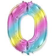 Balón foliový číslice duhová -  110 cm - 0 - Balonky