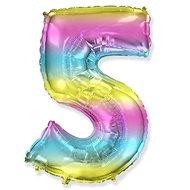 Balón foliový číslice duhová -  110 cm - 5 - Balonky