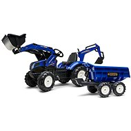 Pedal tractor New Holland T blue with front and rear bucket