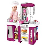 iMex Toys Velká dětská kuchyňka s tekoucí vodou a lednicí fialová - Kuchyňka