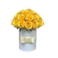 Květinový box LUXURY ze žlutých růží 38 cm - Dárkový box