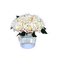 Květinový box LUXURY mini z krémových růží 15 cm