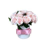 Květinový box LUXURY mini z růžových růží 15 cm