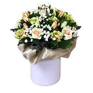 Floral velor box made of green mini roses 34 cm - Gift Box