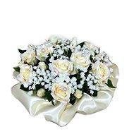 Květinový nízký velurový box z krémových mini růží 13 cm