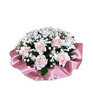 Květinový nízký velurový box z růžových mini růží 13 cm