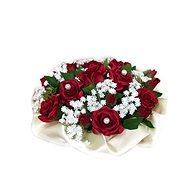 Květinový nízký velurový box z červených mini růží 13 cm