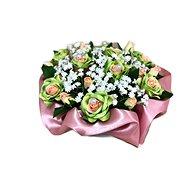 Květinový nízký velurový box ze zelených mini růží 13 cm
