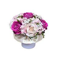 Květinový velurový box se sametovými ostře růžovými růžemi 28 cm - Dárkový box
