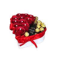 Dárkový box se sektem ve tvaru srdce červené střední 27x27 cm - Dárkový box