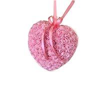 Srdce z růžiček ve světle růžové barvě 18 cm - Dekorace