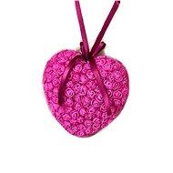 Srdce z růžiček v tmavě růžové barvě 18 cm - Dekorace