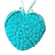 Srdce z růžiček v zelené barvě 18 cm - Dekorace
