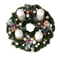 Chvojkový Advent wreath with gingerbread cookies in cream colour 30 cm - Decoration