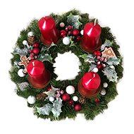 Chvojkový Advent wreath with gingerbread cookies in red 30 cm - Decoration