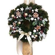 Christmas pendant hanging wreath with gingerbread cookies in cream colour 30 cm - Decoration