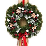 Christmas pendant hanging wreath with gingerbread cookies in red 30 cm - Decoration