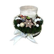 Christmas candlestick with gingerbread and scented candle in cream colour 12 cm - Decoration