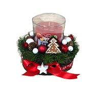 Christmas candlestick with gingerbread and scented candle in red 12 cm - Decoration