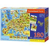Puzzle Mapa Evropy 180 dílků + 32 puzzlí naučné