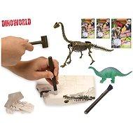 Dinosaurus 17cm a zkamenělina v sádře s dlátem, kladívkem a štětcem - Kreativní hračka