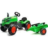 Šlapací traktor s vlečnou a otevírací kapotou zelený