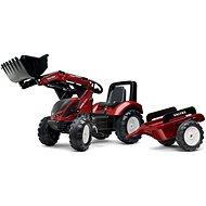 Šlapací traktor Šlapací traktor Valtra S4 s předním nakladačem a vlečkou