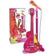 Rocková kytara se stojanovým mikrofonem 22,5 x 22,5 x 112 cm červeno růžová