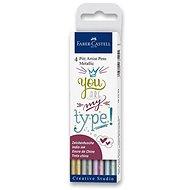 Popisovače Faber-Castell Pitt Artist Pen Metallic, 4 barvy - Popisovač
