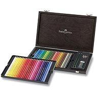 Sada Faber-Castell pastelek Polychromos, 48 barev, dřevěná kazeta s příslušenstvím - Pastelky